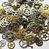 Chenkou Craft Random 100 Gram (Approx 70pcs) Assorted Antique Steampunk Gears Charms Pendant Clock Watch Wheel Gear for Crafting, Jewelry Making Accessory (Multi-color)