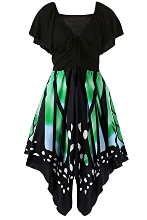 2d7ac0786a8f EastLife Women's Butterfly Print Lace Up Short Sleeve Empire Waist V Neck  Plus Size Dress (