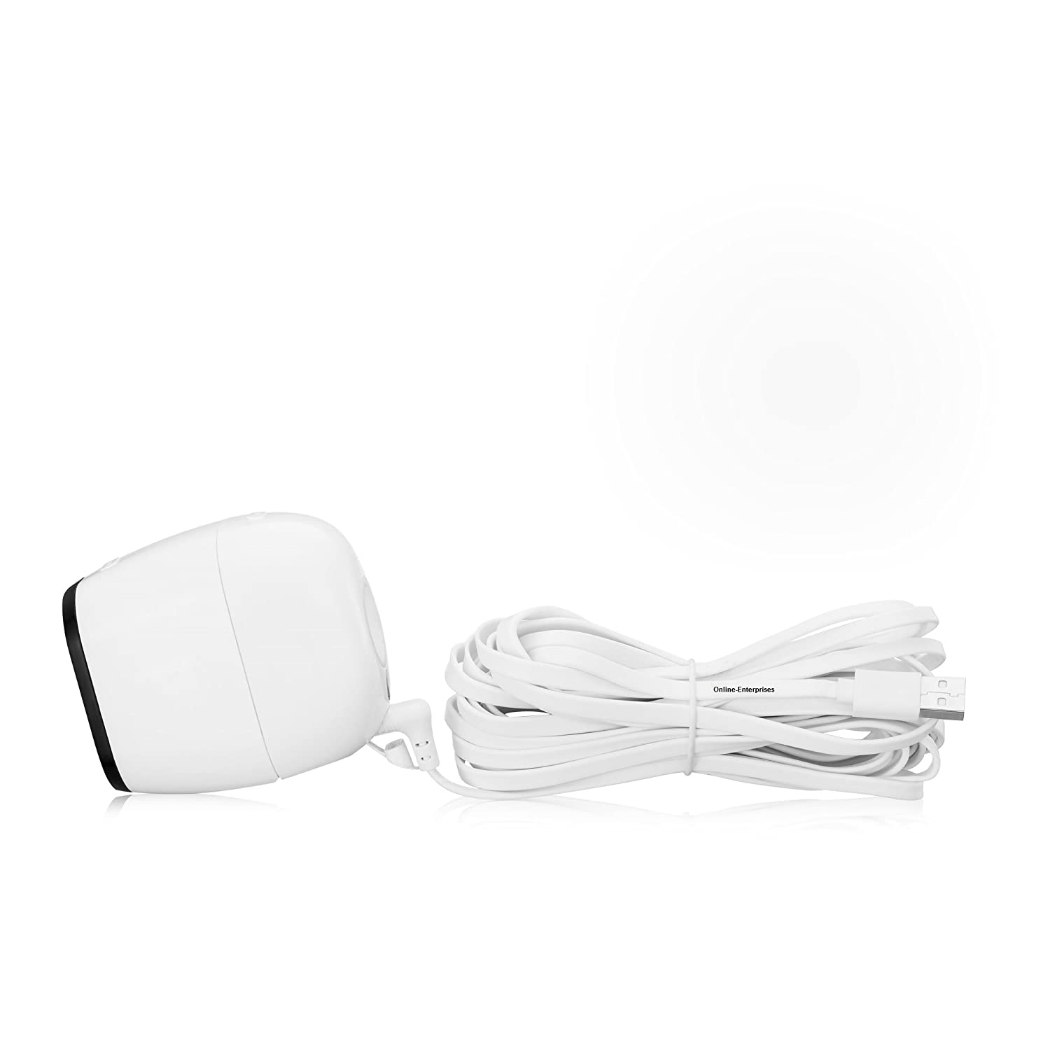 Online-Enterprises 20 foot charging Power Cable- Fits , Arlo Pro, Arlo Pro 2 , Arlo GO -Indoor/Outdoor compatible, Weatherproof- flat- Quick Charge (White power cord)