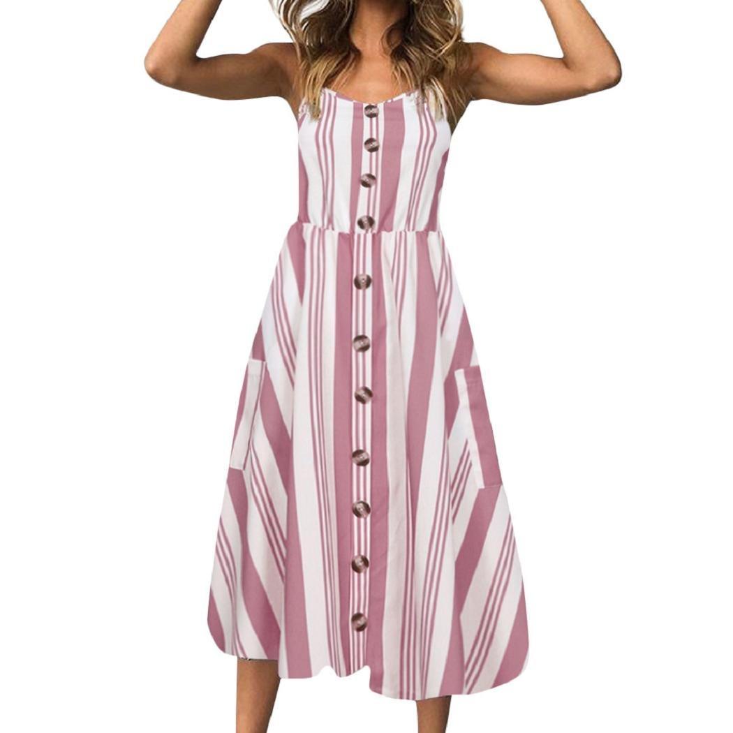 ShenPr Women Dress Sling Dot Printing Buttons Off Shoulder Sleeveless Slim Waist Pocket Princess Dress (Pink_Stripe, XL)