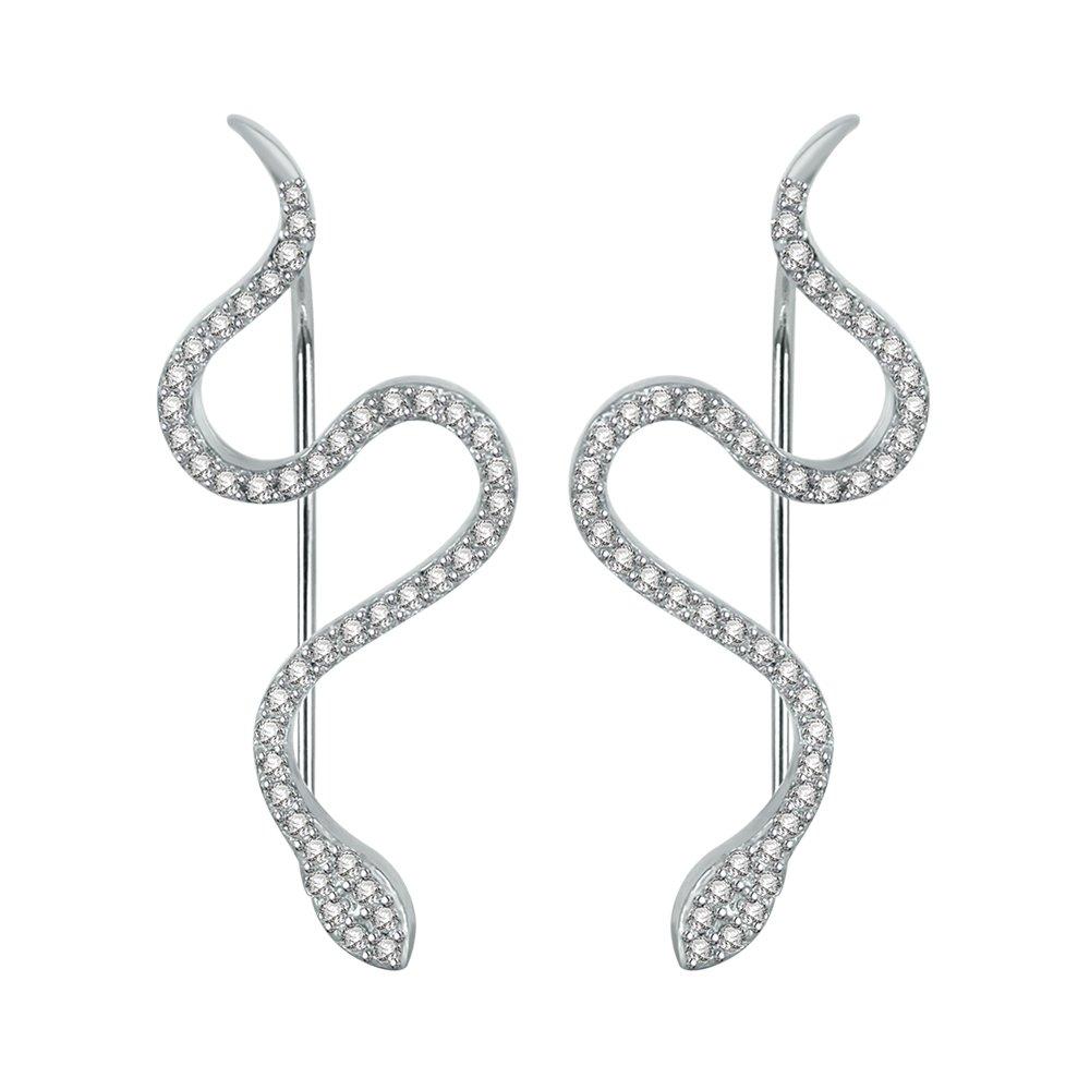 Snake Ear Climber Earrings Cubic Zirconia 925 Sterling Silver Ear Crawler Cuffs Earrings for Women Gift (White)
