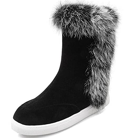 Women's Faux Fur Outdoor Nubuck Warm Wedges Snow Boots
