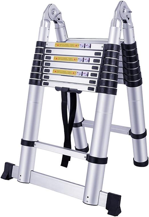 Klappleiter Stehleiter Rutschfester Alu Teleskopleiter 2,6M//3,2M//3,8M//4,4M Ausziehbare Leiter Tragbar Leichte Leiter Haushaltsleiter 150 kg Belastbarkeit Ausziehleiter Mehrzweckleiter