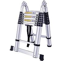 SAILUN® Teleskopleiter Klappleiter Ausziehleiter aus hochwertigem Alu Teleskop-Design Mehrzweckleiter, 16 Sprossen - 90cm bis 5m Anlegeleiter, 150 kg Belastbarkeit (5m klappbar)