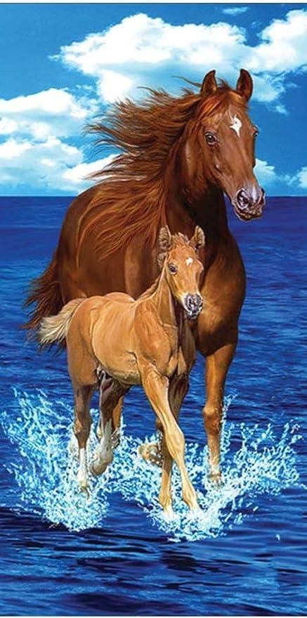 """30x60/"""" Horse At The Beach Premium Velour Beach Towel"""