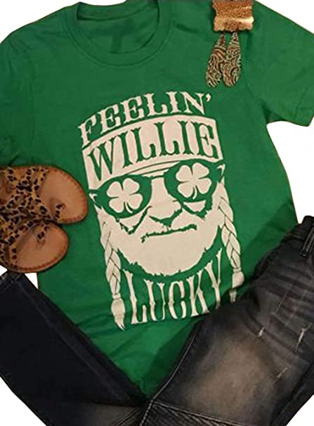 8e7dd85f6 Amazon.com: Feelin' Willie Lucky St. Patrick's Day Irish Shamrock T-Shirt  Women Letter Print Funny Graphic Tee Short Sleeve Tops: Clothing