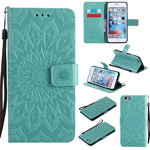 Price comparison product image iPhone 6S Plus Wallet Case, A-slim(TM) Sun Pattern Embossed PU Leather Magnetic Flip Cover Card Holders & Hand Strap Wallet Purse Case for iPhone 6 Plus / 6S Plus [5.5 Inch] - Green