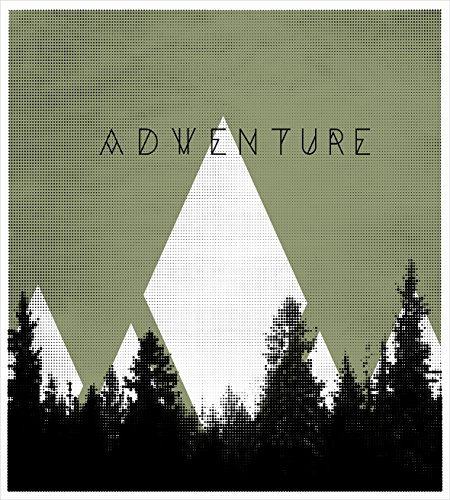 Ambesonne Adventure Duvet Cover Set Queen Size, Forest with Halftone Effect Hipster Typography Camping in Mountains, Decorative 3 Piece Bedding Set with 2 Pillow Shams, Army Green Black White
