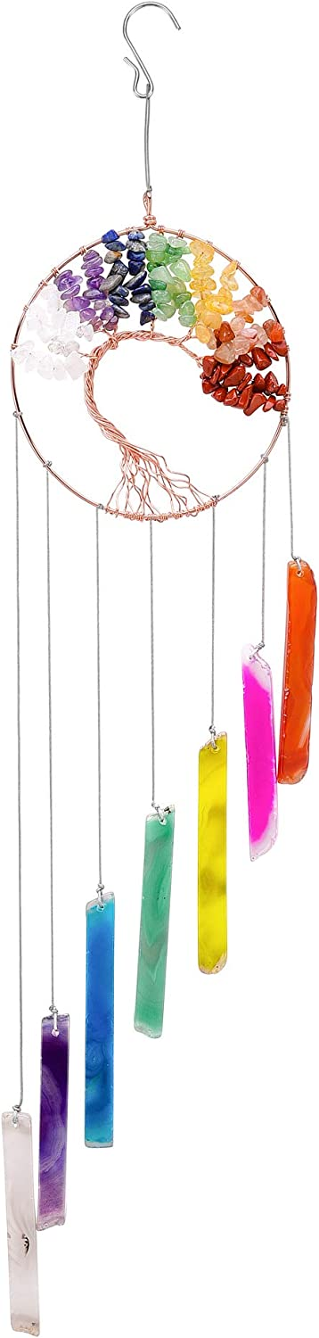 Tree of Life Chakra Healing Crystal and Stones, Agate Hanging Wind Chimes Ornament for Garden Outdoor Indoor, Colorful Decoration for Conservatory Outside Porch Bedroom