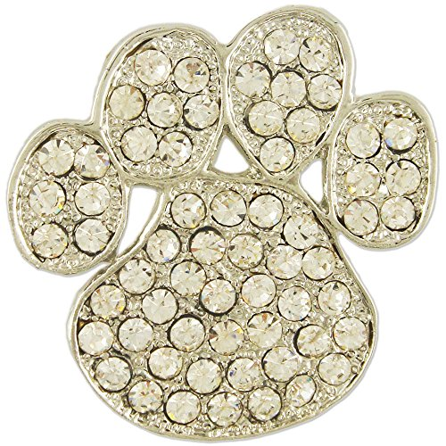 Women's Rhodium Plated Crystal Dog Puppy Paw Brooch Pin Made with Swarovski Elements (Paw Puppy Pin)