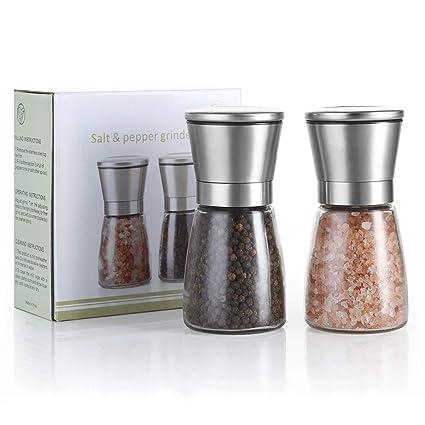 sel et piment poivre KRONENKRAFT moulin /à sel et /à poivre moulin /à sel moulin /à sel en verre avec moulin en c/éramique r/églable moulin /à /épices en acier inoxydable pour /épices