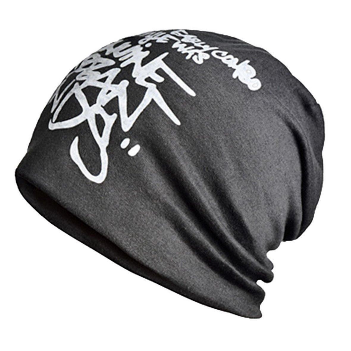 Panegy Bonnets Gar/çon Homme Baggy Mince Hip Hop Soft Stretch Tricot Style Simple Mode Barbouillage Lettre Blanc Cool Chapeau Cr/âne Divers Couleurs
