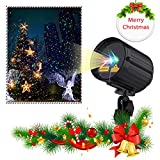 Christmas Projector Lights Garden Laser Light Red Green Blue 3 Colors Star Light Shower Laser Projector 3 Motions with RF Remote Control, Metal Housing Garden Outdoor Holiday Decoration