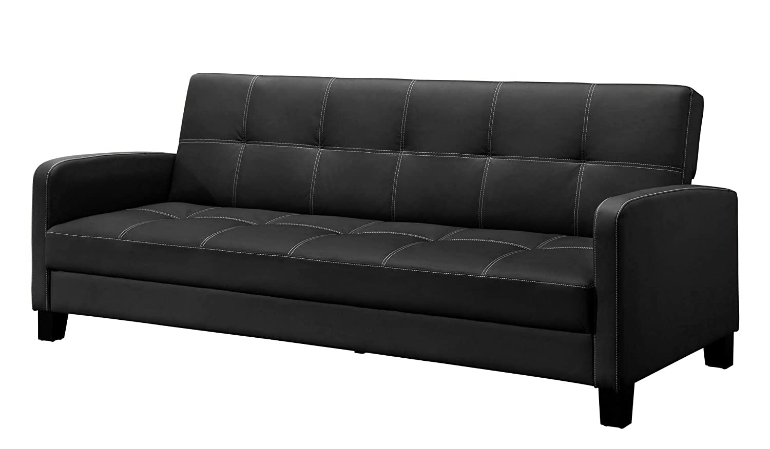 Amazon.com: DHP Delaney Sofa Sleeper In Rich Faux Leather, Multifunctional,  Black: Kitchen U0026 Dining