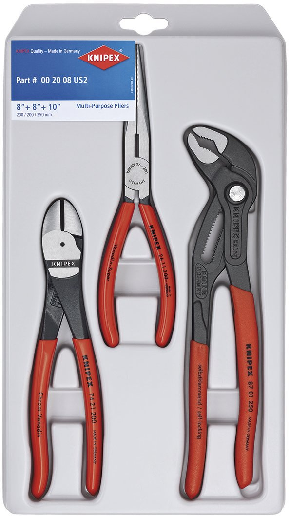 Knipex Tools 00 20 08 US2 Long Nose, Diagonal Cutter, and Cobra Pliers 3-Piece Tool Set by Knipex