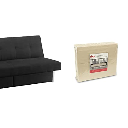 DHP Sola Convertible Sofa Futon with Space Saving Storage Compartments in  Black Microfiber Upholstery with Bonus Beige Twin-Size Futon Sheet Set