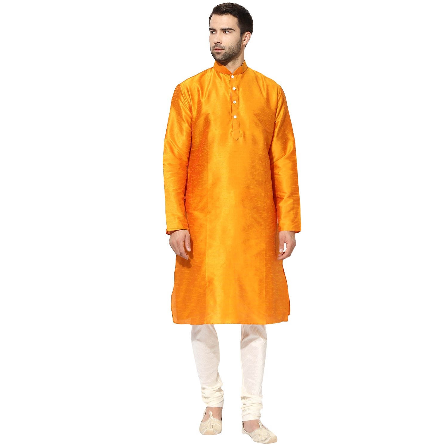 KISAH Men's Indian Kesaria Yellow Dupion Silk Solid Kurta Churidar Set for Wedding & Festive Season