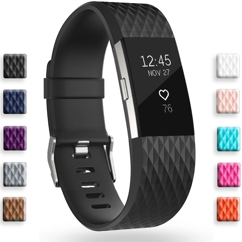 Geak Fitbit Charge 2バンド、Special Edition交換用バンドfor Fitbit charge2 Large Small 12異なる色 B078GK6WRZ Small|Diamond-Black Diamond-Black Small