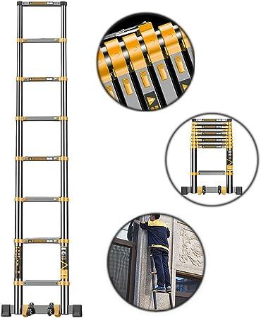 Escalera telescópica Escalera Plegable De Extensión Telescópica De 5.9 M / 19.5 Pies De Altura con Barra De Soporte, Rectas Portátiles De Aluminio Negro, Capacidad De Carga De 3: Amazon.es: Hogar