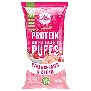 BETTER THAN GOOD Keto Protein Puffs | 16g Protein, 2 Servings of Fruits & Veggies | Paleo, Low Sugar, Low Calories, Gluten Free, Diabetic Friendly Keto Snacks (Strawberries & Cream)