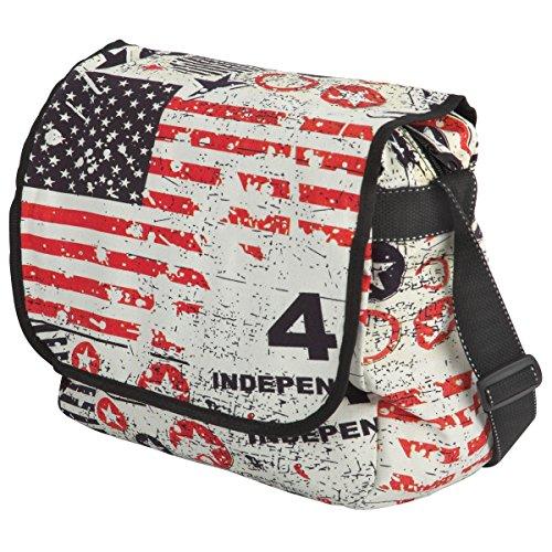 Women Shoulder Bag - Cotton - Bar Design And Stars / Usa