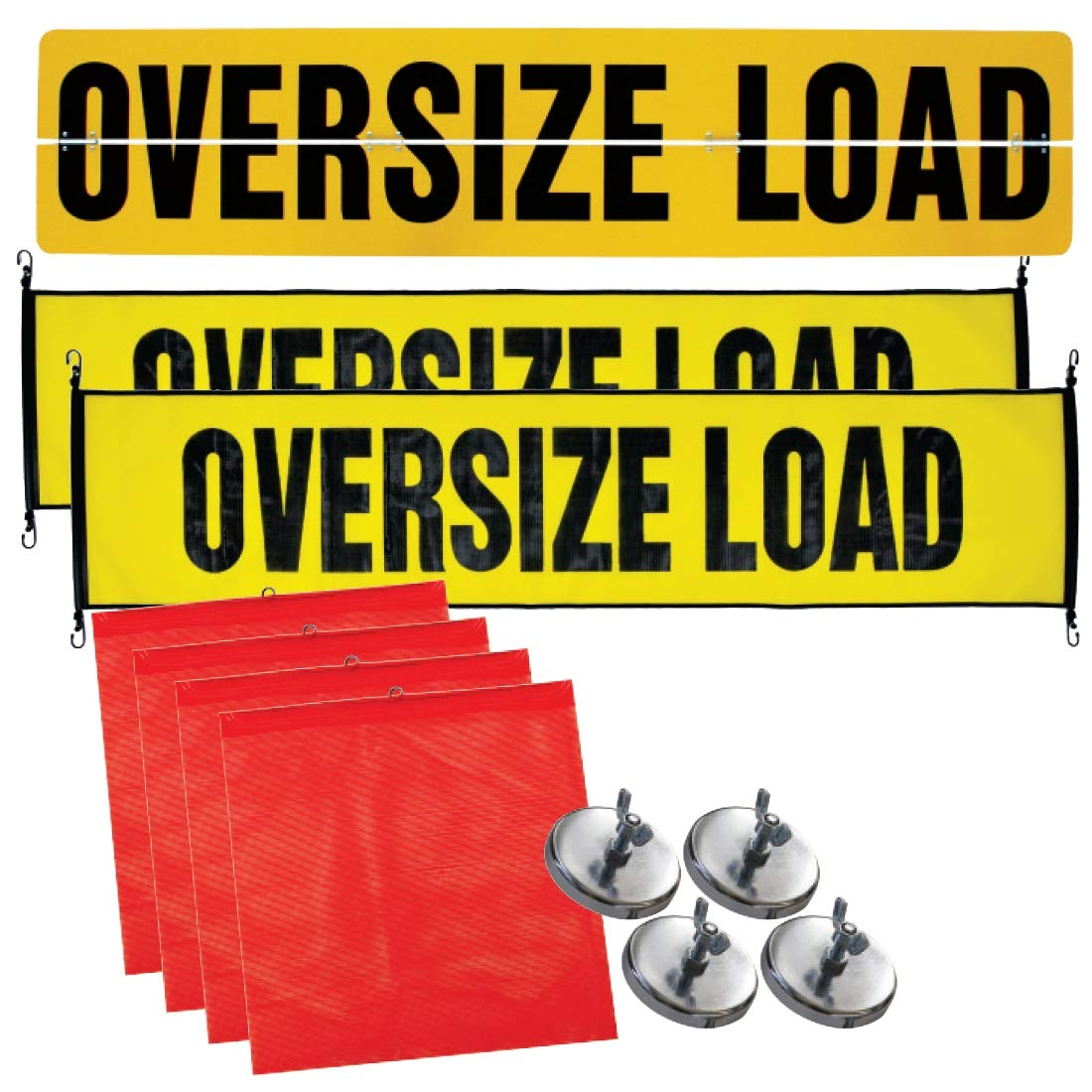 Vulcan Aluminum and Stretch Cord Oversize Load Signs, Flags, and Magnets Kit