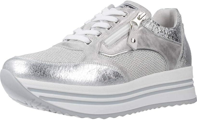 NERO GIARDINI Sneaker donna argento in pelle e tessuto