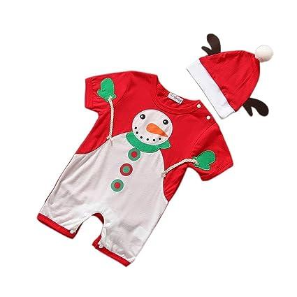 ESHOO Pelele de bebé Niños gorro de Papá Noel de Navidad + Body 2pcs ropa set