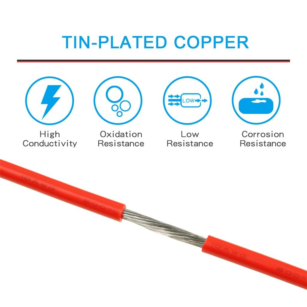 BNTECHGO 10 Gauge Silicone Wire Spool Red 100 feet Ultra Flexible High Temp 200 deg C 600V 10AWG Silicone Rubber Wire 1050 Strands of Tinned Copper Wire Stranded Wire for Model Battery Low Impedance bntechgo.com