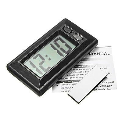 Baynne Ultra-Thin LCD Digital Display Car Vehicle Dashboard Clock with Calendar(Color:Black): Garden & Outdoor