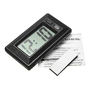 Baynne Ultra-Thin LCD Digital Display Car Vehicle Dashboard Clock with Calendar(Color:Black)