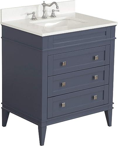 Eleanor 30-inch Bathroom Vanity Quartz/Charcoal Gray   Includes Charcoal Gray Cabinet