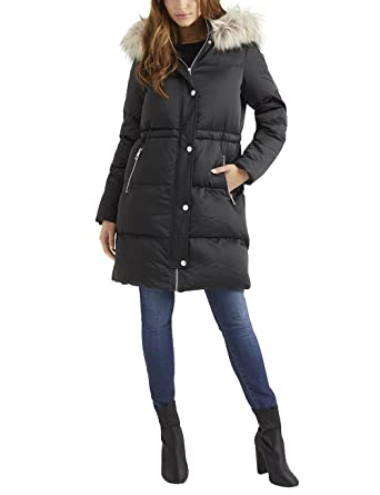 fc545c5c7 Lipsy Womens Faux Down Duvet Puffer Coat - Black -: Amazon.co.uk ...