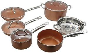10-Piece Copper Luxury Induction Nonstick Cookware Set Steamer Skillet Sauce Pan-Cookware sets-Stainless cookware set-Stainless sauce pan set-Stainless set cookware