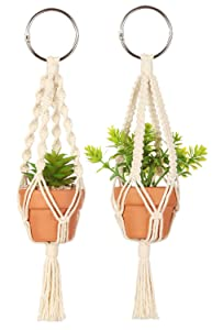 Mkono Mini Macrame Plant Car Hanging 2 Pcs Handmade Rear View Mirrior Charm Car Decorations Boho Hanging Planter with Pot and Plant for Car Home Decor, 10.5-Inch