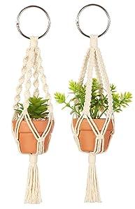 Mkono Mini Macrame Plant Car Hanging 2 Pcs Handmade Rear View Mirrior Charm Car Decorations Boho Hanging Planter with Pot and Plant for Car Home Decor, 10.5-Inch