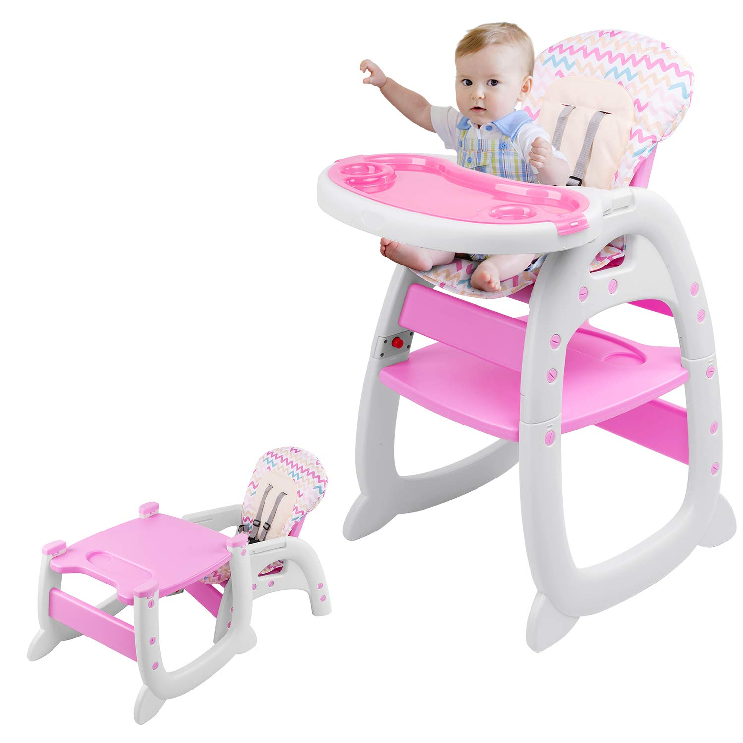 Highchair, 2 in 1 Convertible Play Table Set, Kids Table and Chairs, 5-Point Harness, with Removable Tray, Easy to Clean, Multifunctional Highchair, Suitable, for Feeding and Playing (Pink) by AuAg