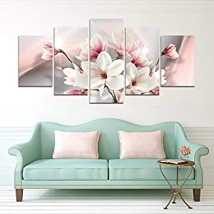 yj_art Pink Floral Wall Art Giclee 5 Pieces Canvas Print Picture Decoration Home Living Room Decor Flower (Overall Size: 40''W x 20''H)