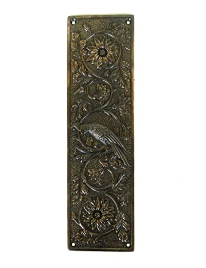 Parrot Bird Push Plate Door Hardware Vintage Restoration Replica Aged Bronze - Parrot Bird Push Plate Door Hardware Vintage Restoration Replica