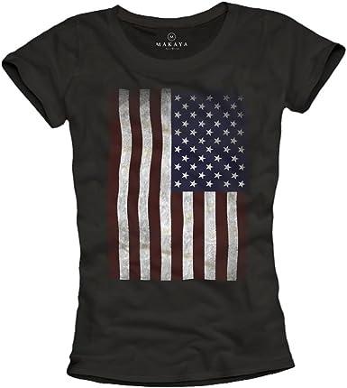 MAKAYA USA - Camiseta con Bandera Americana para Mujer: Amazon.es: Ropa y accesorios