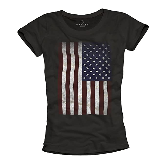 MAKAYA USA - Camiseta con bandera americana para mujer - Negra S