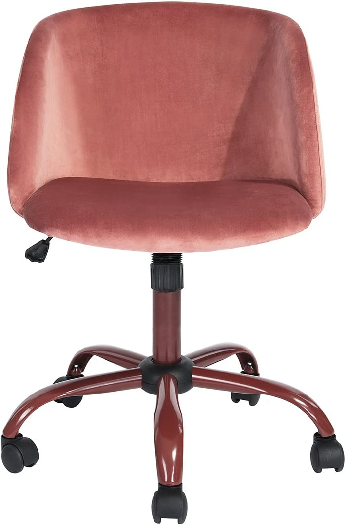HOMY CASA Modern Swivel Desk Chair with Wheels Mid Back Support Serta Accent Armrest Velvet Chairs for Conference Room Home Office in Rose Pink