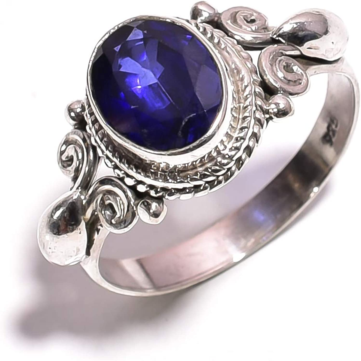 925 Sterling Silver Real Sapphire Gemstone Ring Size 7