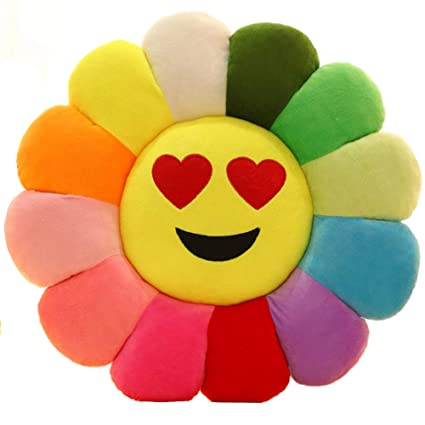 Emoji Backrest Chair Cushion, Smile Flower Shaped Throw Pillow Sunflower Pad Soft Toys for Girls Reading Bed Room Decoration-F D56cm(22inch)