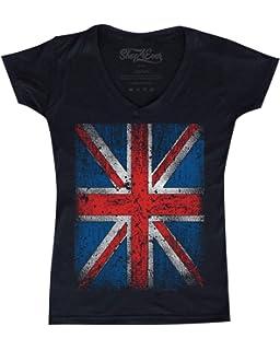 177ce6442ba71 Shop4Ever Vintage Union Jack British Flag Women's V-Neck T-shirt United  Kingdom Flag