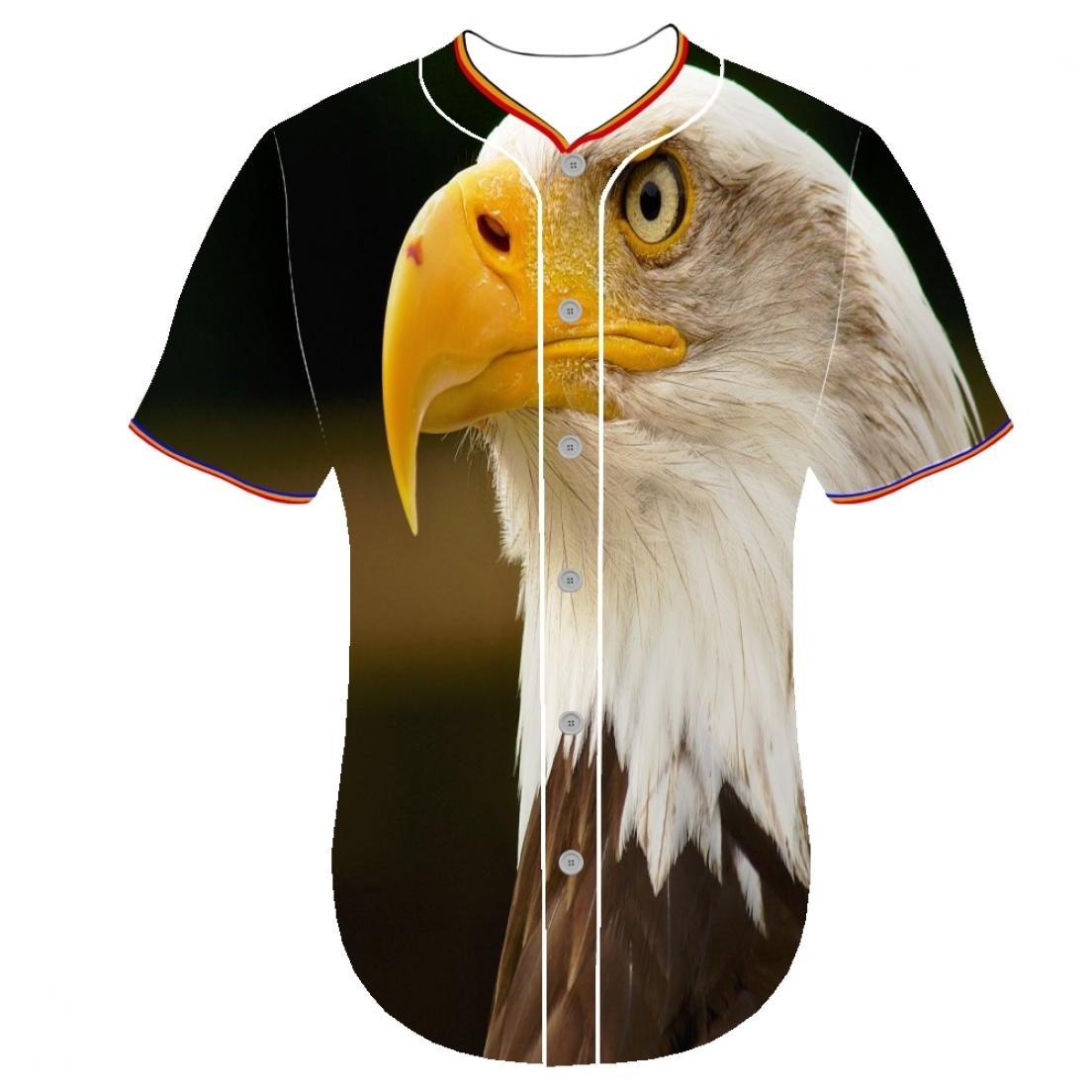 ボタンフロントシャツYouth 3d印刷カスタマイズされたラウンドカラーfeusen 3dプリントTシャツ野球チームジャージジャージBald Eagle ejgy B079HTKRZ2
