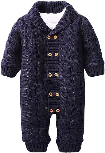 Minetom Bebé Recién Nacido Mameluco Otoño Invierno Grueso Suéteres Ropa Una Pieza Peleles Pijamas De Punto Niños Niñas Monos