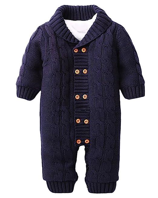 Minetom Bebé Recién Nacido Mameluco Otoño Invierno Grueso Suéteres Ropa Una Pieza Peleles Pijamas De Punto Niños Niñas Monos: Amazon.es: Ropa y accesorios