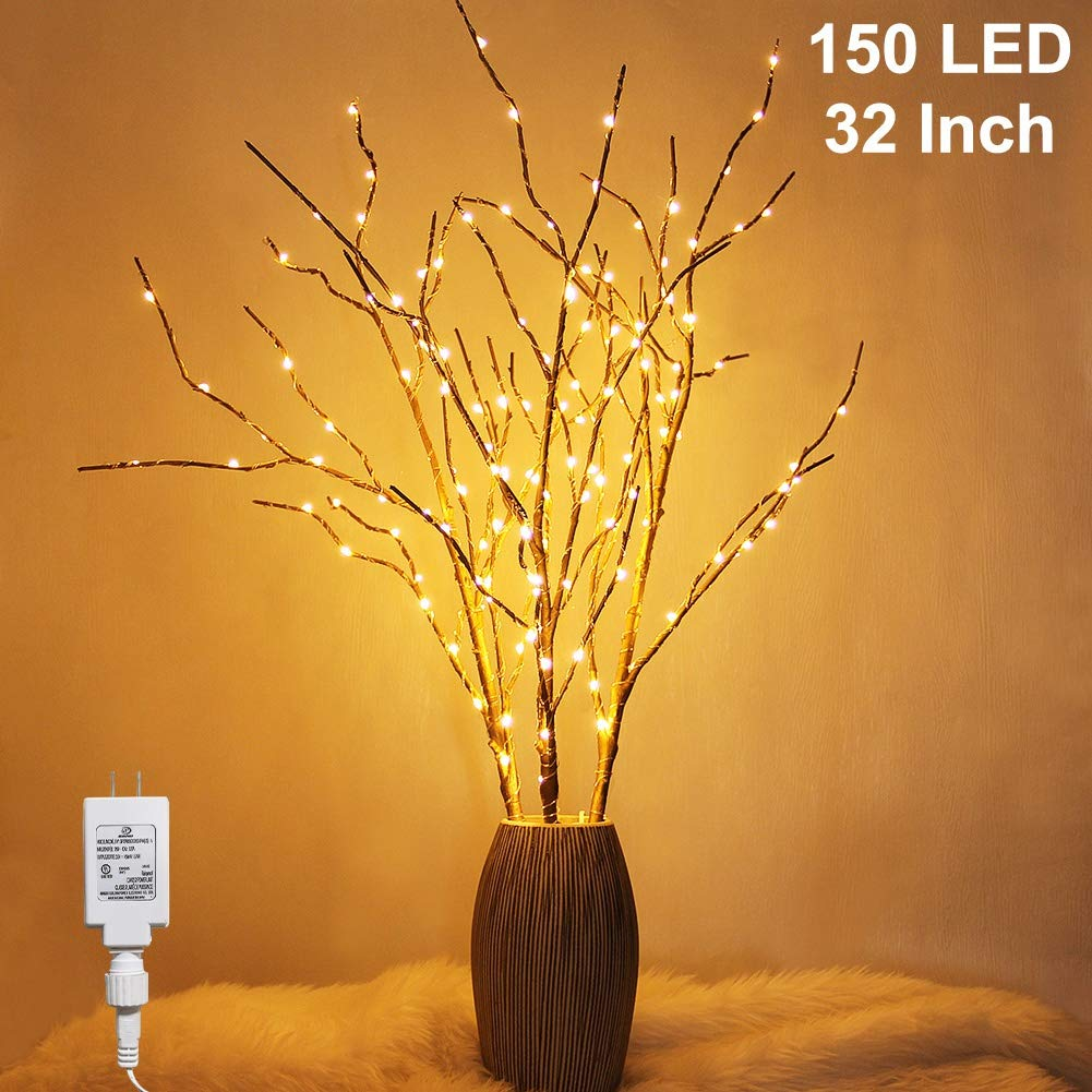 Twinkle Star 150 LED Lighted Golden Tree Branches 3 Pack Artificial Branches Plug in for Indoor Outdoor Christmas Wedding Party Home Decoration (Vase Excluded)