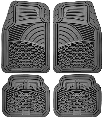 OxGord 4pc Set Tactical Heavy Duty Rubber Floor Mats - Gray